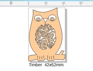 Wooden owl 42 x 62 mm  Pack of 5